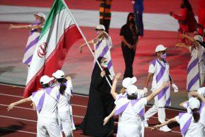 مراسم اختتامیه پارالمپیک توکیو و رژه کاروان ایران با پرچمداری ساره جوانمردی